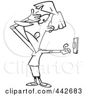 Royalty Free RF Clip Art Illustration Of A Cartoon Black And White Outline Design Of A Woman Hesitating To Push A Button by toonaday