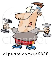 Royalty Free RF Clip Art Illustration Of A Cartoon Man Exercising With Dumbbells by toonaday