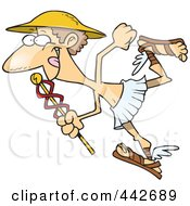 Royalty Free RF Clip Art Illustration Of A Cartoon Hermes With A Staff