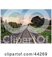 Clipart Illustration Of Deserted Railroad Tracks Leading Through A Landscape At Dawn