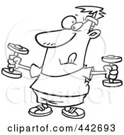 Royalty Free RF Clip Art Illustration Of A Cartoon Black And White Outline Design Of A Man Exercising With Dumbbells by toonaday