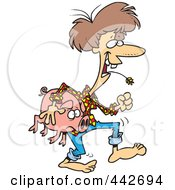 Royalty Free RF Clip Art Illustration Of A Cartoon Female Hillbilly Carrying A Pig