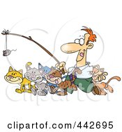 Royalty Free RF Clip Art Illustration Of A Cartoon Businessman Herding Cats