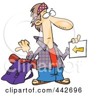 Royalty Free RF Clip Art Illustration Of A Cartoon Hitchhiker Holding A Sign