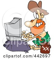Royalty Free RF Clip Art Illustration Of A Cartoon Male Hillbilly Using A Computer by toonaday