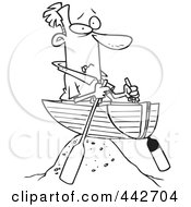 Royalty Free RF Clip Art Illustration Of A Cartoon Black And White Outline Design Of A Man Left High And Dry In A Boat