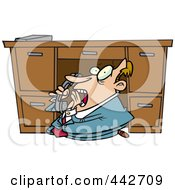 Royalty Free RF Clip Art Illustration Of A Cartoon Businessman Hiding Under His Desk And Calling The Police by toonaday