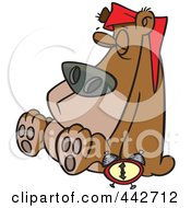Royalty Free RF Clip Art Illustration Of A Cartoon Hibernating Bear by toonaday