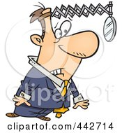 Royalty Free RF Clip Art Illustration Of A Cartoon Businessman Looking Back In Hind Sight