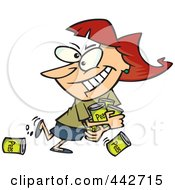 Royalty Free RF Clip Art Illustration Of A Cartoon Woman Hoarding Canned Food