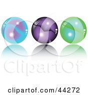 Clipart Illustration Of A Collage Of Blue Purple And Green Spheres With Orbs In Them