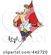 Cartoon Businessman Flying High On A Kite