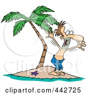 Royalty Free RF Clip Art Illustration Of A Cartoon Stranded Man Screaming For Help