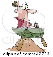 Royalty Free RF Clip Art Illustration Of A Cartoon Man Left High And Dry In A Boat by toonaday