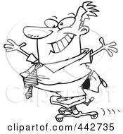 Royalty Free RF Clip Art Illustration Of A Cartoon Black And White Outline Design Of A Businessman Standing On A Rolling Office Chair
