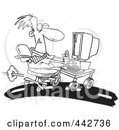 Royalty Free RF Clip Art Illustration Of A Cartoon Black And White Outline Design Of A Businessman Using A Computer On A Highway by toonaday