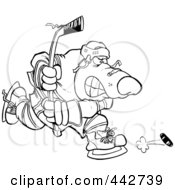 Cartoon Black And White Outline Design Of A Bear Hockey Player