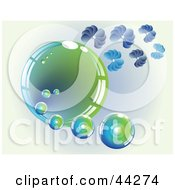Clipart Illustration Of A Shiny Green And Blue Bubble With Flower Petals