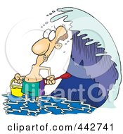 Royalty Free RF Clip Art Illustration Of A Cartoon Man Playing On A Beach At High Tide