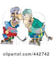 Royalty Free RF Clip Art Illustration Of Cartoon Fighting Hockey Players by toonaday