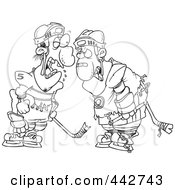 Cartoon Black And White Outline Design Of Fighting Hockey Players