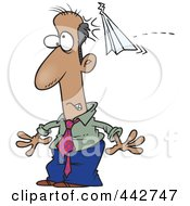 Royalty Free RF Clip Art Illustration Of A Cartoon Businessman Being Bonked With A Paper Plane by toonaday