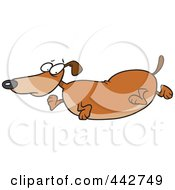 Royalty Free RF Clip Art Illustration Of A Cartoon Obese Wiener Dog by toonaday