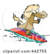Cartoon Surfing Horse