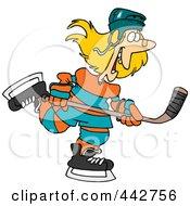 Royalty Free RF Clip Art Illustration Of A Cartoon Female Hockey Player