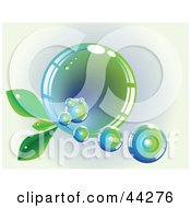 Clipart Illustration Of A Reflective Blue And Green Bubble With Leaves
