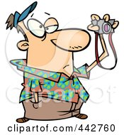 Royalty Free RF Clip Art Illustration Of A Cartoon Bored Man Taking Pictures by toonaday