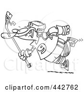 Cartoon Black And White Outline Design Of A Leaping Hockey Player