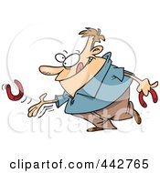 Royalty Free RF Clip Art Illustration Of A Cartoon Man Throwing Horseshoes by toonaday