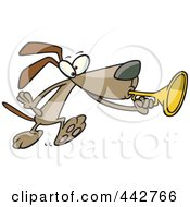 Royalty Free RF Clip Art Illustration Of A Cartoon Dog Playing A Horn