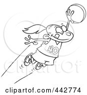 Royalty Free RF Clip Art Illustration Of A Cartoon Black And White Outline Design Of A Girl Leaping With A Basketball