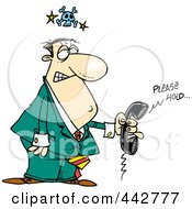 Royalty Free RF Clip Art Illustration Of A Cartoon Mad Businessman On Hold