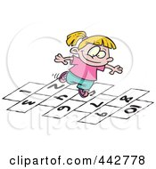 Royalty Free RF Clip Art Illustration Of A Cartoon Girl Playing Hop Scotch by toonaday