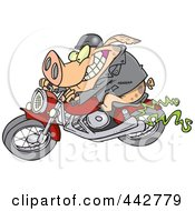 Royalty Free RF Clip Art Illustration Of A Cartoon Biker Pig