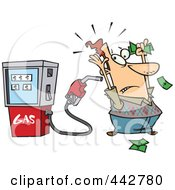 Royalty Free RF Clip Art Illustration Of A Cartoon Gas Pump Holding Up A Customer by toonaday