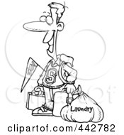 Royalty Free RF Clip Art Illustration Of A Cartoon Black And White Outline Design Of A College Boy Returning Home With Dirty Laundry by toonaday
