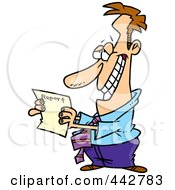 Royalty Free RF Clip Art Illustration Of A Cartoon Hopeful Businessman Holding A Report