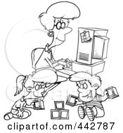 Royalty Free RF Clip Art Illustration Of A Cartoon Black And White Outline Design Of A Woman Working On Her Computer As Her Kids Play by toonaday