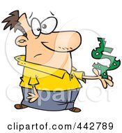 Cartoon Man Holding A Dollar Symbol With Holes
