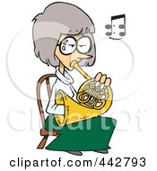 Royalty Free RF Clip Art Illustration Of A Cartoon Woman Playing A French Horn