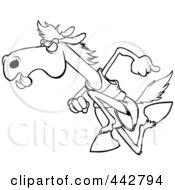 Cartoon Black And White Outline Design Of A Racing Horse