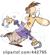 Royalty Free RF Clip Art Illustration Of A Cartoon Man Playing Horseshoes
