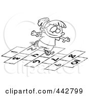 Royalty Free RF Clip Art Illustration Of A Cartoon Black And White Outline Design Of A Girl Playing Hop Scotch