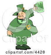 Saint Patricks Day Irish Man Holding A Green Beer Mug Clipart