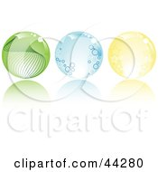 Collage Of Green Blue And Yellow Crystal Balls With Stars Circles And Waves