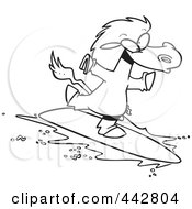 Cartoon Black And White Outline Design Of A Surfing Horse